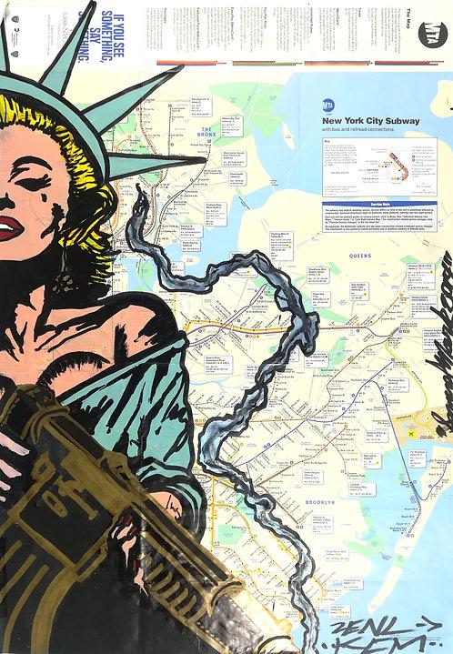 GRAFFITI MAP samuel mark subway - street art - geek art