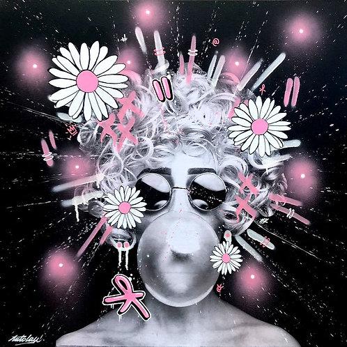 LA STREET GALERIE - ANTO LAU - The Pink Lady - 80x80x4cm