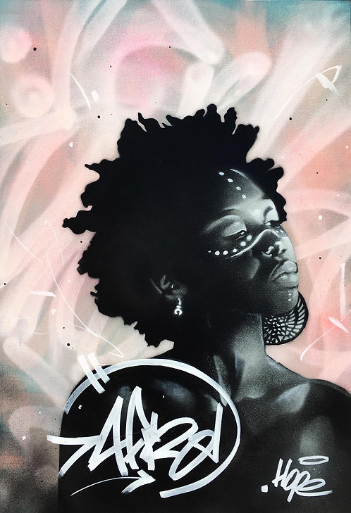 LA STREET GALERIE - HOPE 1393 - AfroChic#1 - 130x89cm - 2020