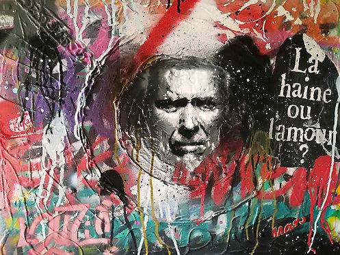 LA STREET GALERIE - LOUZIO - La haine ou l'amour (Clint Eastwood) - 73x60x2,6cm