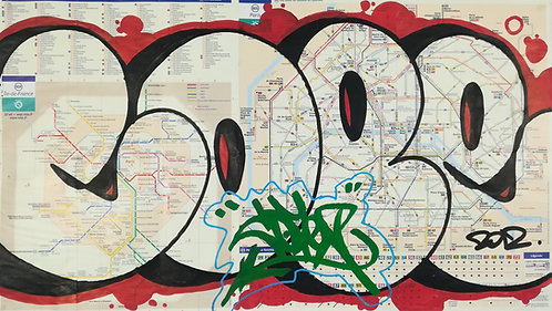 GRAFFITI MAP cope2 subway - street art - geek art