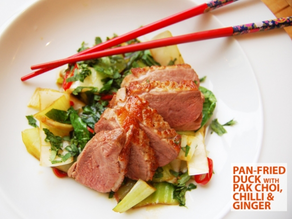 Pan-fried duck with pak choi, chilli & ginger