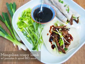 Crispy Mongolian lamb pancakes w/ spiced BBQ sauce