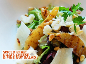 Spiced pear, goat's cheese & pine nut salad