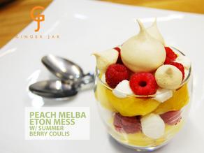 Peach melba Eton Mess w/ brown sugar meringues