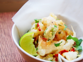 Herb battered squid with chilli & salt