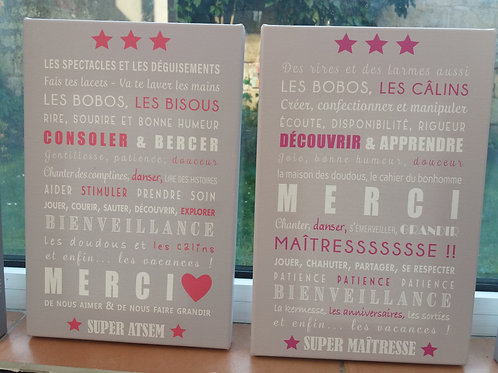 Toile Merci Maîtresse / Atsem / Nounou
