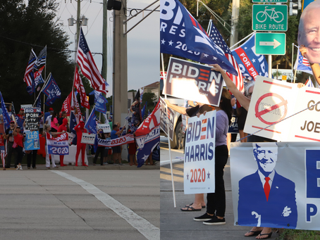 Trump and Biden voters gather on the same street for Election Day