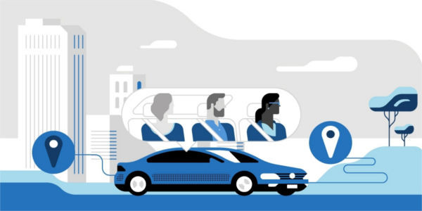 A blue infographic shows an UberPool taxi car driving between several different destinations in a city. A bubble shows three passengers in the back seats of the car: a caucasian bearded young man sits in the middle seat with a young caucasian female to his right and a young black female to his left.
