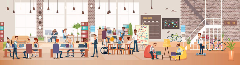 Illustration of a co-working office space with multi-coloured furniture and diverse co-workers
