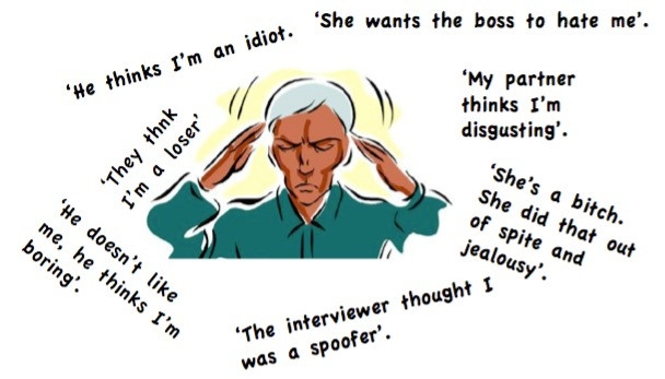 A drawing of a stressed and unhappy man holding his head. All around him are speech bubbles showing what he is thinking: 'He thinks I'm an idiot', 'She wants the boss to hate me', 'My partner thinks I'm disgusting', 'She's a bitch. She did that out of spite and jealousy', 'The interviewer thought I was a spoofer', He doesn't like me, he thinks I'm boring', 'They think I'm a loser'.