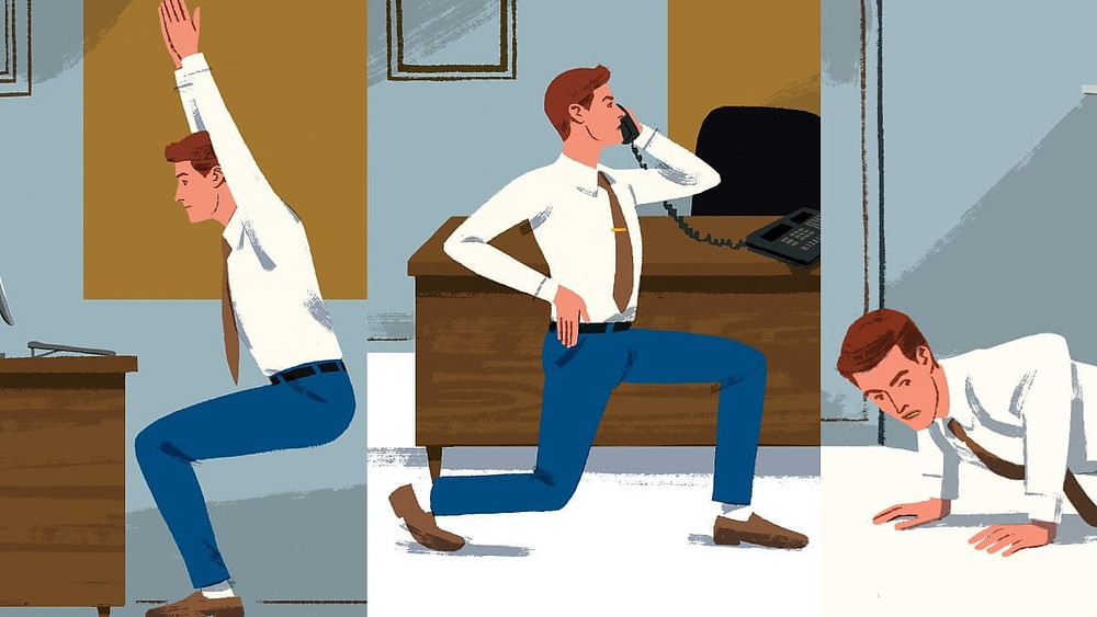 Illustration of a man doing exercises while wearing suit trousers, shirt and tie in his office. The three frames show him: doing squats; doing lunges while on the phone; and doing push-ups