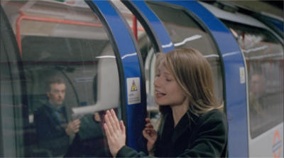 A still from the film, 'Sliding Doors': Gwyneth Paltrow just manages to catch the closing doors of a London Underground train before it departs. Through the window we can see John Hannah seated inside the carriage.