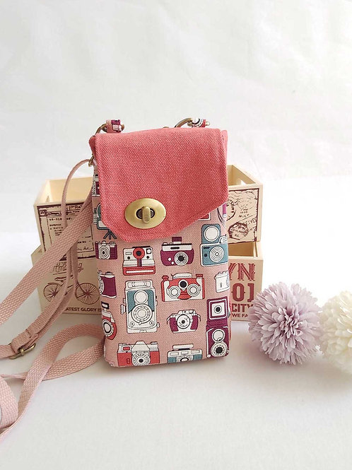 Handmade Fabric Abbey Wallet Sling - Camera, Action! (Peach Pink)
