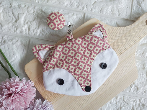 Handmade Fabric Fox Card Holder with Badge Reel - Pink Geometric Front View