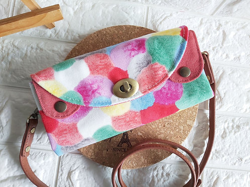 Handmade Fabric Sling Wallet Clutch - Poms Poms Front View