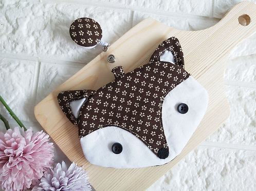 Handmade Fabric Fox Card Holder with Badge Reel - Earthy Front View