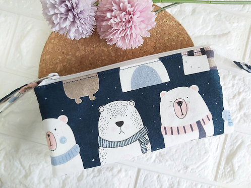 Handmade Fabric Wristlet Wallet Pouch - Bears Front View