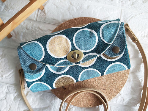 Handmade Fabric Sling Wallet Clutch - Circles Front View