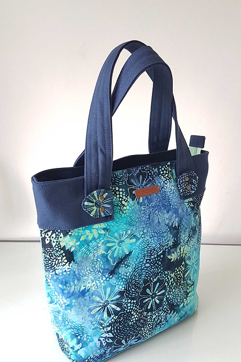 Handmade Handprinted Batik Fabric Marcie Tote Bag - Galaxy Blue Showcase