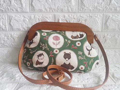 Handmade Wood Frame Sling Bag (Med) :Forest Friends (Green)