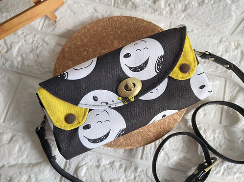 Handmade Fabric Sling Wallet Clutch - Smiley Dogs Front View