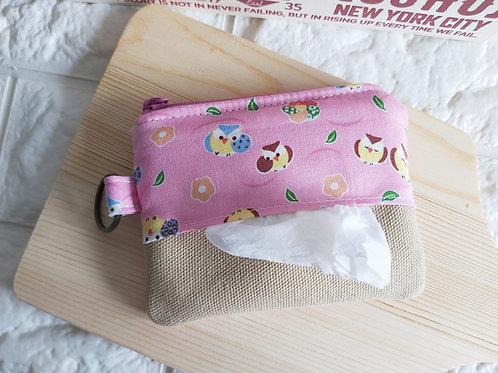 Tissue Holder cum Coin Pouch - Pink Owls Tissue Slot