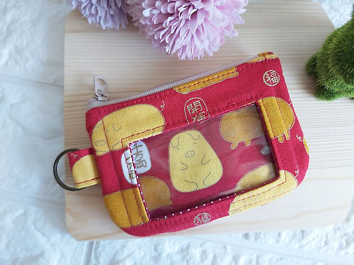 Zippered Cards & Coins Pouch - Golden Piglets Front View