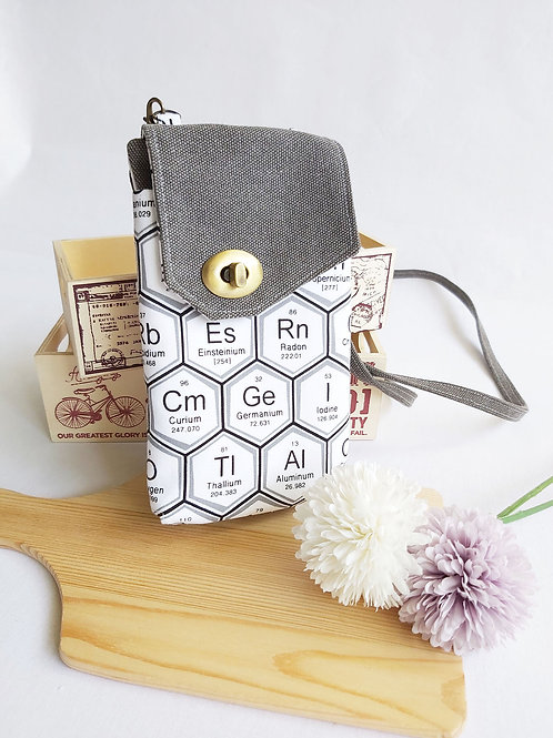 Handmade Fabric Abbey Wallet Sling -Periodic Table