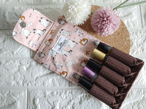 Handmade Fabric Essential Roller Oil Pouch (5 Bottles) : Pink Kitty Interior