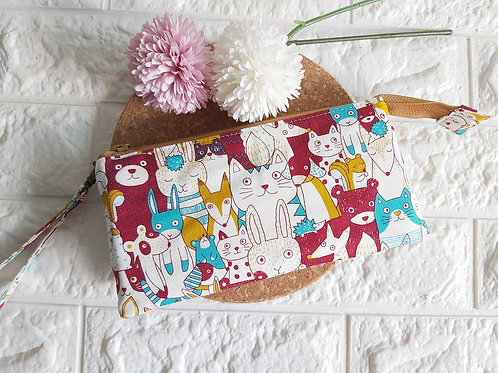 Handmade Fabric Wristlet Wallet Pouch : Animal Kingdom Front