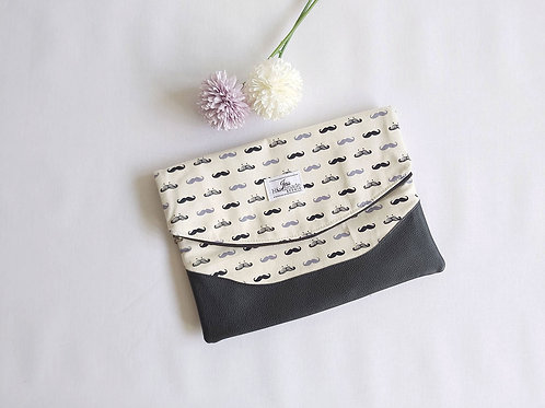 Heidi Large Clutch - Moustache