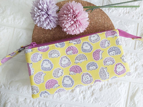 Handmade Fabric Wristlet Wallet Pouch - Hedgehogs Front View