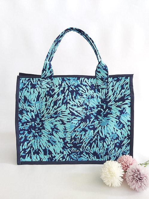Handmade Fabric Oki Tote Bag : Blue Chrysanthemum Front View