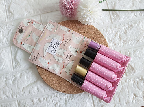 Handmade Essential Oil Pouch (5 Roller Bottles) - Pink Polar Bears Interior View