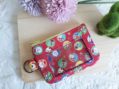 Handmade Fabric Zippered Cards & Coins Pouch - Christmas Bubbles Front View