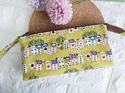 Handmade Fabric Wristlet Wallet Pouch : Poker Cards Kitties