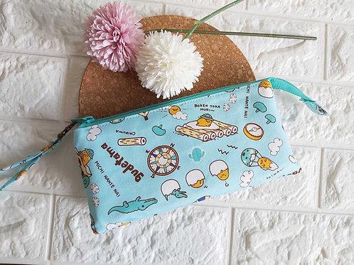 Handmade Fabric Wristlet Wallet Pouch : Gudetama Front