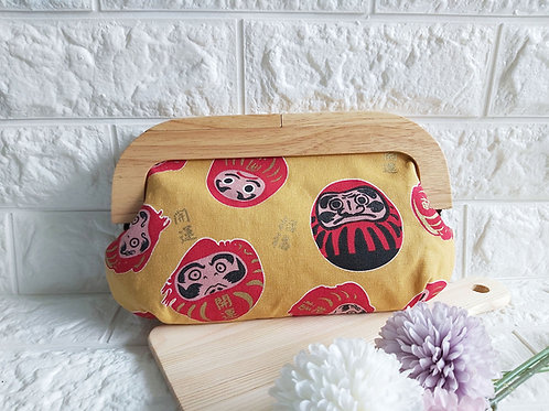 Wood Frame Kisslock Fabric Clutch - Daruma Front View