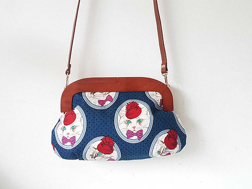 Handmade Wood Frame Sling Bag (Med) : Cameo Kitty