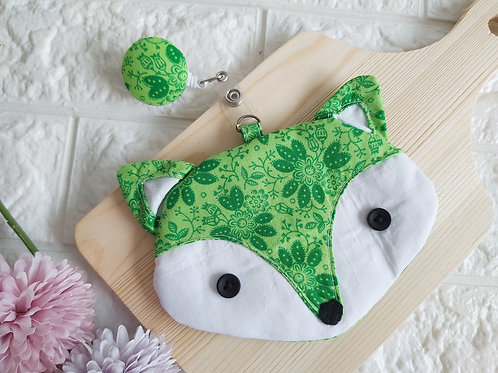Handmade Fabric Fox Card Holder with Badge Reel - Green Lush Front View