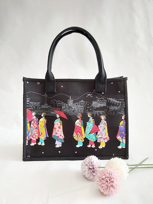 Handmade Fabric Oki Tote Bag : Japanese Geisha Dolls Front View