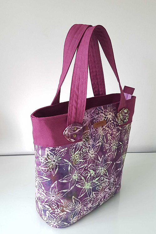 Handmade Fabric Big Marcie Tote Bag | Handstamped Batik - Rosy Lily