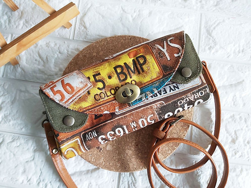Handmade Fabric Sling Wallet Clutch - Car Plates Front View