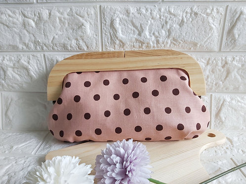 Wood Frame Kisslock Fabric Clutch - Polka Dots Front View