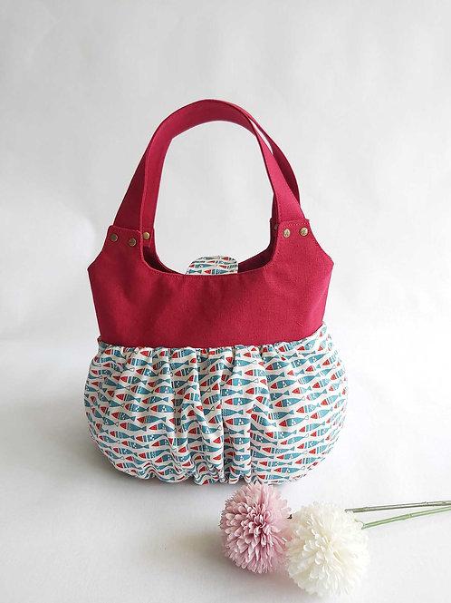 Handmade Fabric Ruffles Bag (小笼包) : Fishes Front View