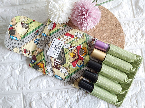 Handmade Fabric Essential Roller Oil Pouch (5 Bottles) : Neko Atsume Interior