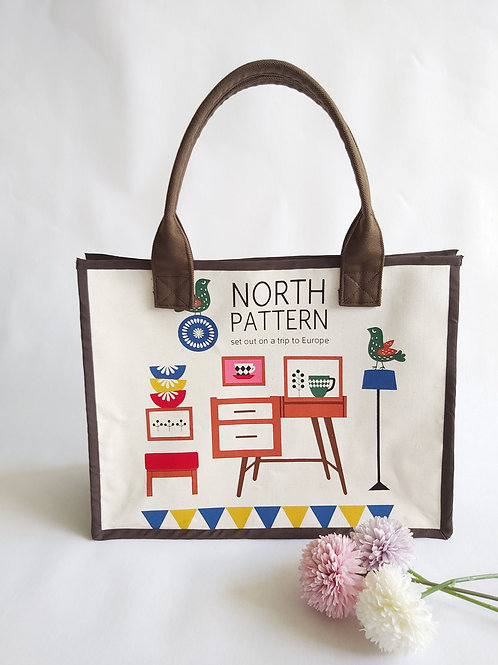 Handmade Fabric Oki Tote Bag - Nordic Style Front View