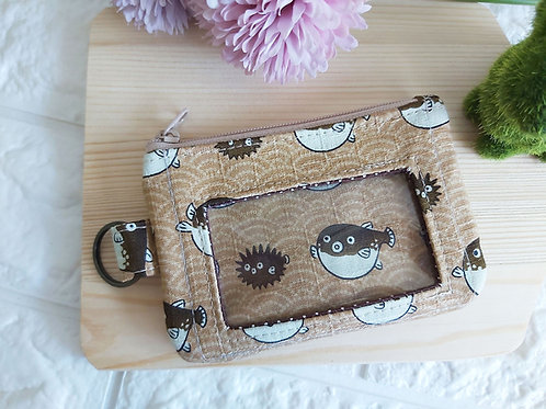 Zippered Cards & Coin Pouch - Puffer Fish Front View