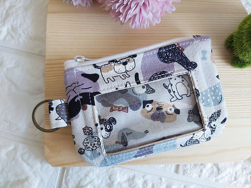 Handmade Fabric Zippered Cards & Coins Pouch - Dogs Front View